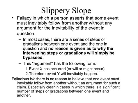 slipper slope fallacy ari pregen on logical fallacies