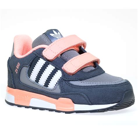 new infants adidas originals zx 850 grey pink velcro trainers shoes