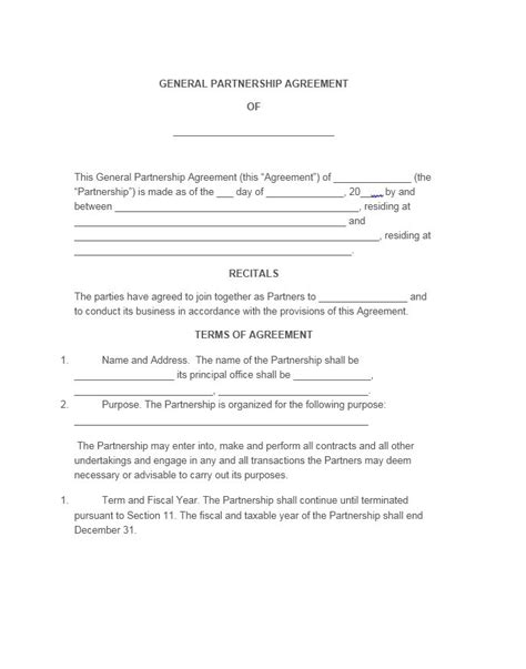 partnership agreements templates doc 638826 general partnership agreements