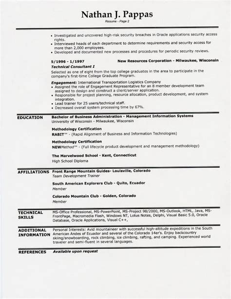 second career resume exles resume sles