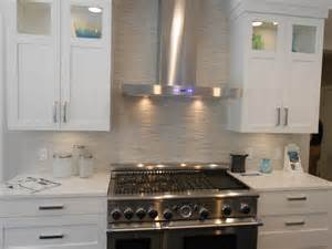 micro stacked backsplash for the home