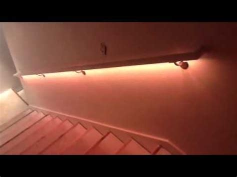 How To Build A Handrail For Stairs Cosmic Basement Handrail Stair Lighting Youtube