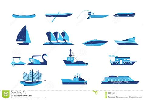 types of boats a z types of boat and ship transportation stock vector image