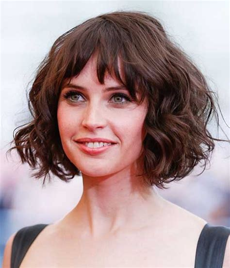 Short Piecey Bob With Bangs | 20 chic and beautiful curly bob hairstyles we adore