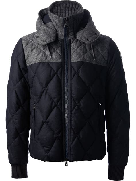 moncler quilted jacket in gray for lyst