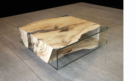 modern wood and glass coffee table
