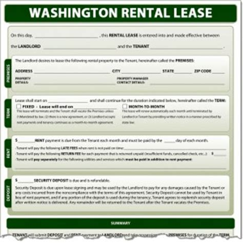 rental agreement template washington state washington rental lease