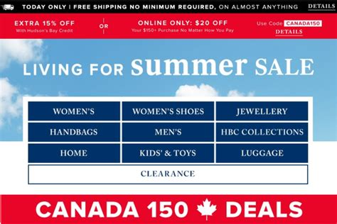 Hudson S Bay Canada Offers - hudson s bay canada 150th birthday offers free shipping