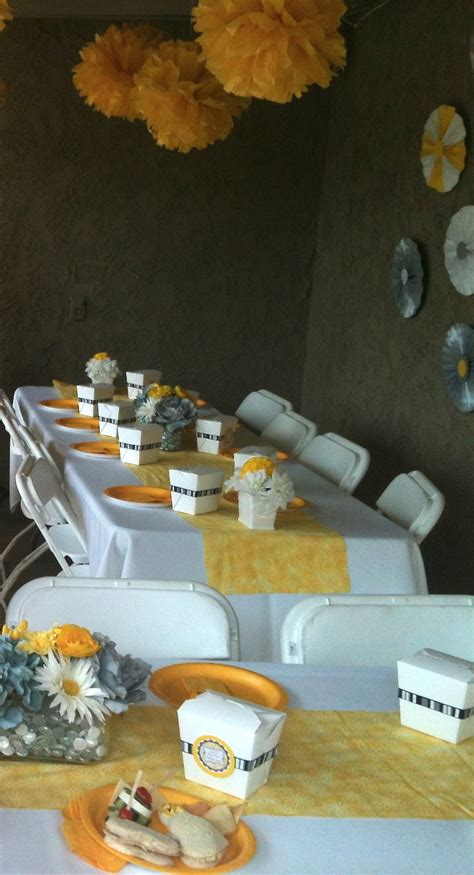 Gray And Yellow Baby Shower by Yellow And Gray Baby Shower Centerpieces