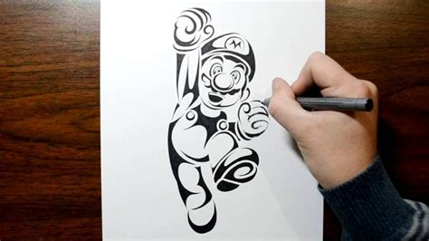 how to draw super mario tribal tattoo design style youtube