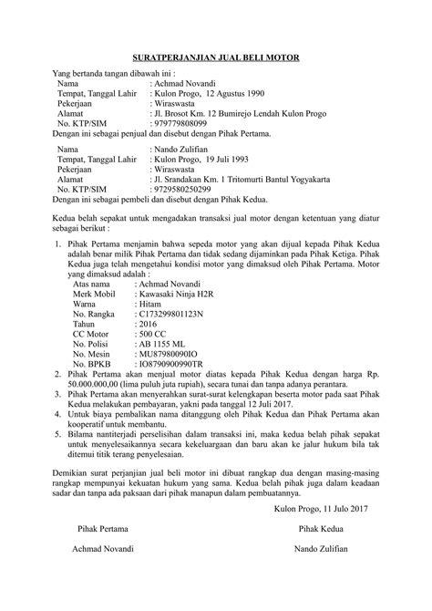 format surat kuasa jual beli download contoh surat jual beli motor dengan kondisi bekas