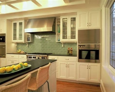 kitchens with color green tiletr