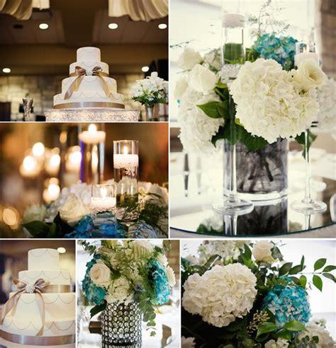 teal and ivory wedding ideas wedding reception centerpieces ivory hydrangeas
