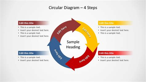 4 step segmented circular diagrams for powerpoint slidemodel circular diagram with points of arrows sticking out