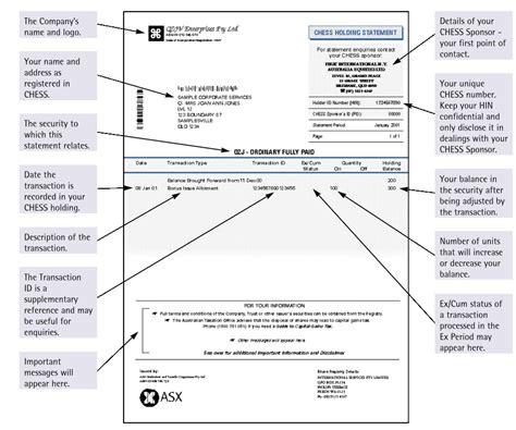 dividend statement template australia how settlement works asx