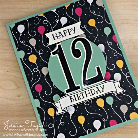 How Many Sts For A Birthday Card 12th Birthday Card With It S My Party Paper