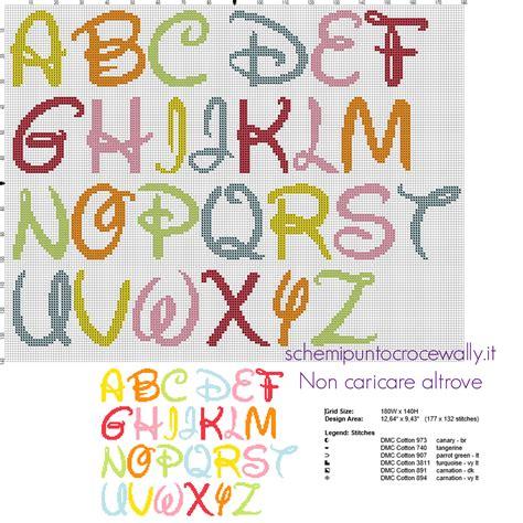 ricamo punto croce lettere alfabeto punto croce da ricamare carattere font disney