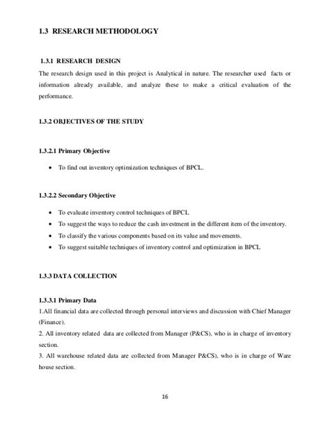 sle of thesis methodology a study on effectiveness and efficiency of the existing