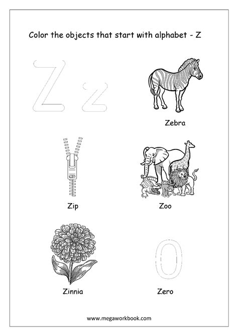 Starting With Letter Z free worksheets alphabet picture coloring