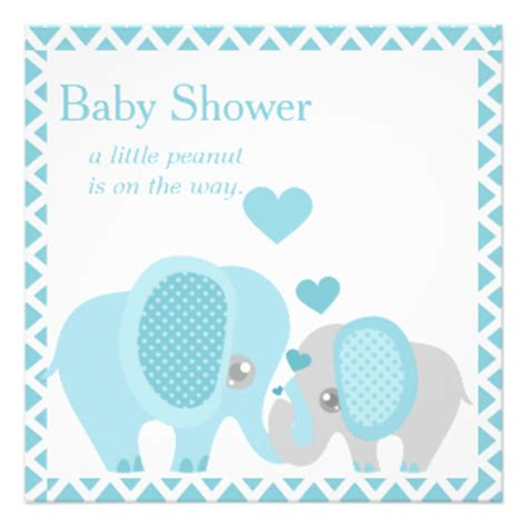 Elephant Baby Shower Boy by Peanut Baby Shower Invitations Announcements Zazzle