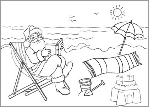 summer santa coloring page santa on the beach coloring in sheet