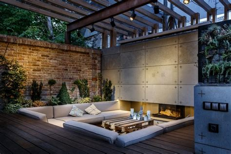 lounge area ideas outdoor lounge with sunken seating area and fireplace