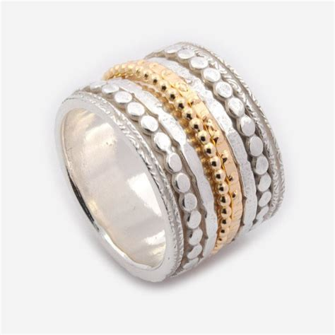 worry ring with silver and gold mix spinner ring 16mm wide spinner