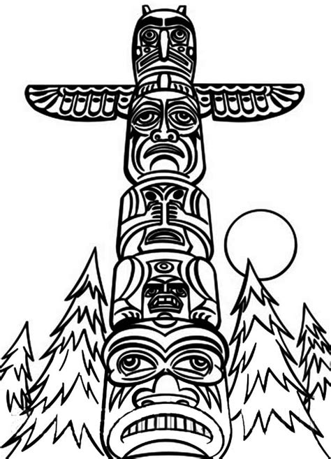 Totem Pole Coloring Page Coloring Home Totem Pole Colouring Pages