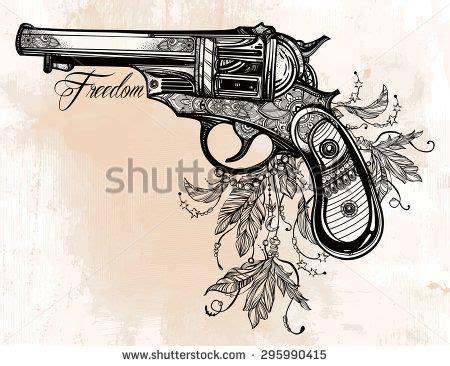 feather tattoo gun hand drawn retro gun revolver pistol with feathers in