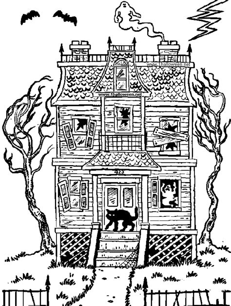 halloween coloring page haunted house az coloring pages