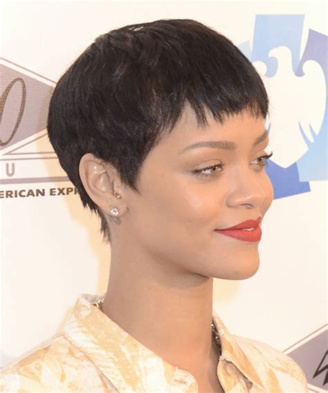 rihanna short straight casual pixie hairstyle black rihanna short straight casual pixie hairstyle with layered