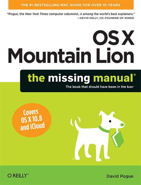 os  mountain lion  missing manual oreilly media