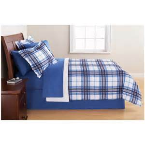 mainstays complete bedding set blue plaid walmart