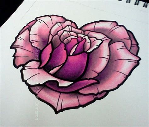 heart rose tattoo shaped designed by shanti tattoos