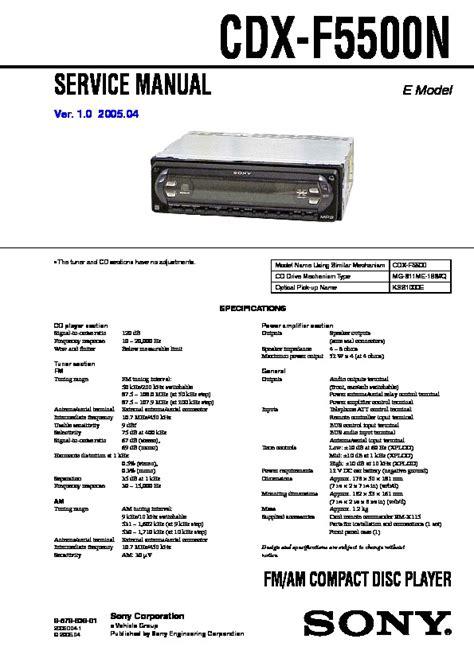 sony cdx f5500 wiring diagram sony vaio laptop parts