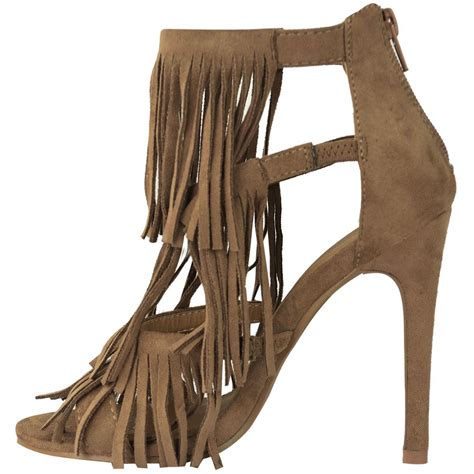 high heels with fringe womens fringe high heel tassels strappy