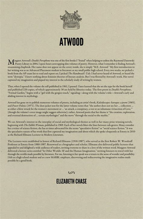 Margaret Atwood Essay by Library Writers Margaret Atwood