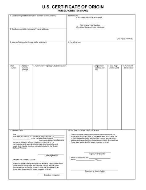 Template Certificate Of Origin certificate of origin template pdf blank certificates