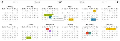 Calendar Javascript Bootstrap Year Calendar Jquery Cards