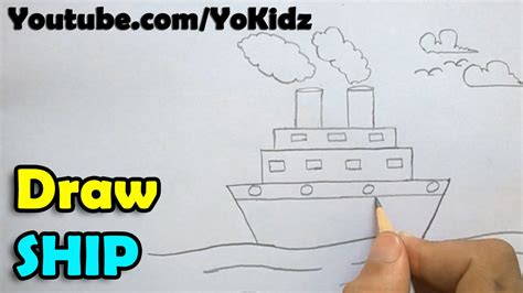 how to draw a boat from the first fleet how to draw a ship step by step youtube