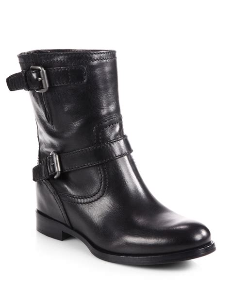 motorcycle boots buckle prada leather double buckle motorcycle boots in black