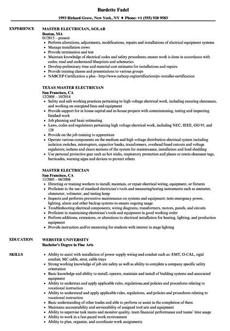 Master Electrician Resume Sles Velvet Jobs Master Electrician Resume Template