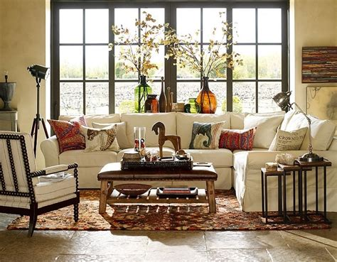 potterybarn living room theme living room style furniture ottomans and pottery