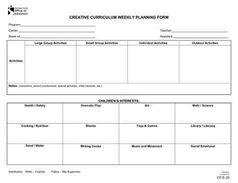 Creative Curriculum Blank Lesson Plan Creative Curriculum Weekly Plan Lesson Plan Forms Curriculum Planning Template