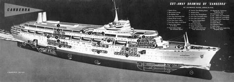 boat motors canberra cut away ship 1960 s ss canberra ss canberra pinterest