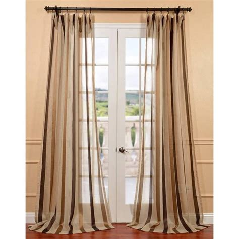 sheer taupe curtains exclusive fabrics carlton taupe linen blend stripe sheer curtain panel free shipping on orders
