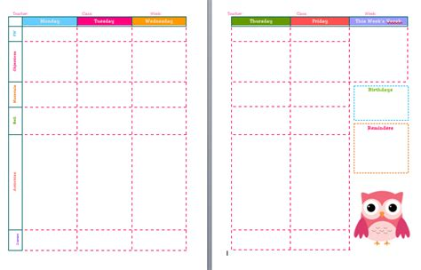 week at a glance lesson plan template week at glance template calendar template 2016