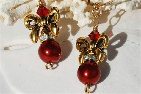 christmas burgundy gold and pearls pearl earrings 14k gold fill burgundy by ornatetreasures jewelry