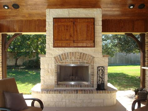 houston brick outdoor fireplace patio traditional with outdoor living