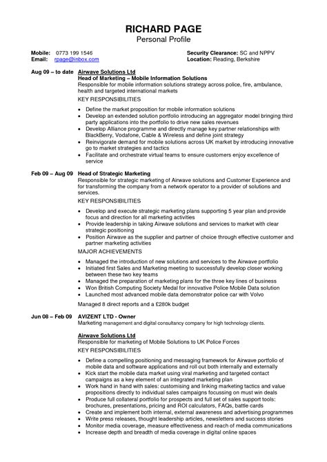 resume personal section doc 12401754 exle resume personal profile resume